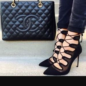 Zara suede mesh lace up bootie black